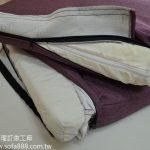 椅墊泡棉包覆絲棉,並車縫內裡